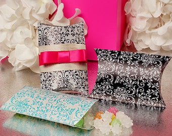 DAMASK Pattern Plastic PILLOW BOXES - Party Favors - Bridal Party - Bridal Shower - Baby Shower