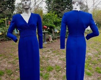 Vintage Evening Gown, Vintage Dress, 80s Dress, Mother of the Bride Dress, 80s Evening Gown by David Warren in Cobalt Blue Size 4-6