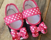 Black Polka Dot BABY Mary Jane Play Shoes (Sizes 1 - 5) MEASURE your child's foot PLEASE
