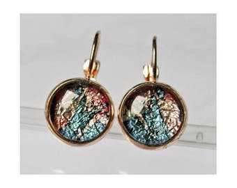Rose Gold Petite Tray Leverback Earrings with RWB settings