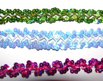 NEW  sequin Trim Trimming sewing craft ribbon scrapbook decor favors centerpieces quinceanera wedding apple green hot pink light blue
