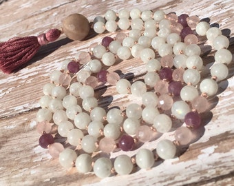 Rainbow Moonstone, Rose Quartz, & Ruby Mala Beads