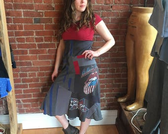 Rock n Roll t shirt dress- upcycled vintage rolling stones- maxi dress- flared skirted bottom- red gray blue- world tour 78- medium large