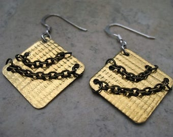 Chained Brass Square Earrings
