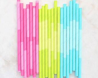 Spring Paper Cocktail Straws, Two Tone Spring Paper Straws, Cake Pop Sticks, Drinking Straws, Short Paper Straws, Spring Party Straws