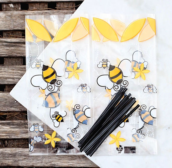 Bumble Bee Cellophane Bags Twist Ties Candy