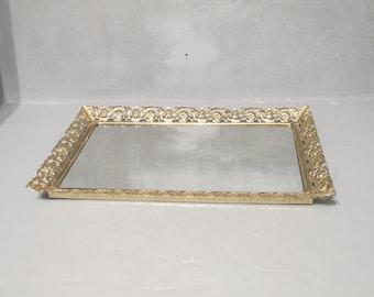 Vintage Vanity Mirror Tray / Gold Ornate Metal Frame with Flowers & Leaves Scroll Pattern Dresser Table Top Perfume Bottles Jewelry Display