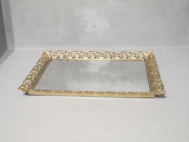 vintage vanity mirror tray gold ornate metal frame with. Black Bedroom Furniture Sets. Home Design Ideas