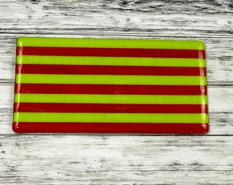 Bright Stripes Handmade Glass Cheese Tray