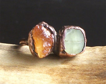 Raw Tourmaline Opal Crystal Ring Rough Stone Jewelry Midwest Alchemy Size 7 Natural Stone Ring Copper