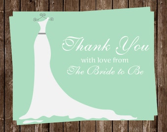 Bridal Shower Thank You Cards, Mint, Green, White, Wedding, Dress, 24 Folding Notes, Printed, Bride, FREE Shipping, SIGOT, Simple Gown