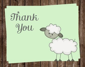Lamb, Baby Shower, Thank You Cards, Green, Gray, Birthday Party, Gender Neutral, Set of 24 Folding Notes with Envelopes, FREE Shipping