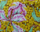 Philip Jacobs Tulip, yellow, Kaffe Fassett collective, OOP, rare, large repeat floral fabric, half yard