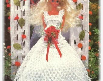 Barbie Clothes, Crochet Bride Dress Pattern - Dress, Overskirt, Hat & Veil Patterns - Instant Download CR846319