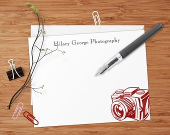 Classic Camera - Set of 8 CUSTOM Personalized Flat Note Cards/ Stationery