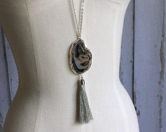 Agate Slice Tassel Necklace, Layering Tassel Necklace, Druzy Tassel Necklace, Boho Necklace, Silver Tassel Necklace
