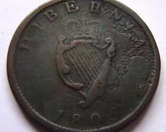 1805 1/2 CENT HIBERNIA IRELAND King George 3rd Gaelic harp Bronze Coin