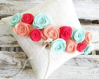 Nature Inspired Glittery Burlap Wedding Ring Bearer Pillow with handmade rosettes.