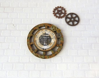 Steampunk barometer on wooden wheel in 1:12 scale