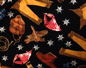 Cowboy Fabric - Shamash And Sons - Out of Print Quilt Fabric - 1 Yard