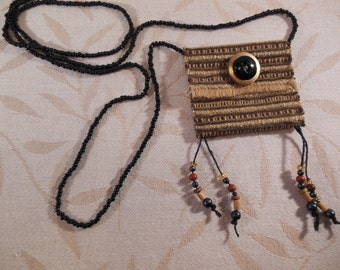 Beaded Fabric Amulet Pouch Necklace, Earthtone Green,Brown and Gold Fiber Necklace, Fiber Art Necklace