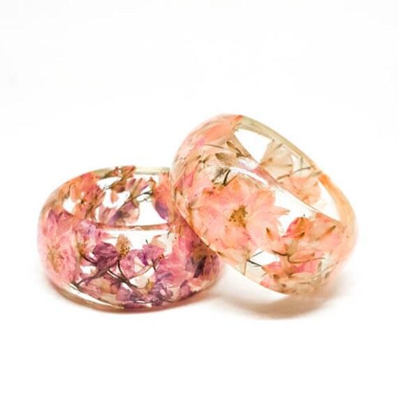 Size Medium Pale Pink Botanical Resin Bangle. Chunky Bangle Bracelet.  Pressed Flower Resin Cuff.  Real Flowers - Pink Larkspur