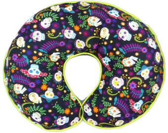 Day of the Dead Boppy Cover Flower Skulls Nursing Pillow