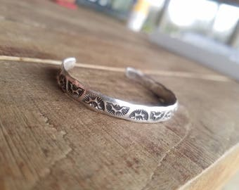 Handstamped Bohemian Style Thick Band Cuff, Southwestern Inspired