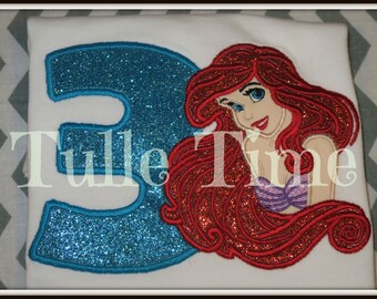 1st 2nd 3rd 4th 5th 6th 7th 8th big hair Ariel Birthday embroidered shirt top 18m 24m 2t 3t 4t 5t 6 7/8 10/12