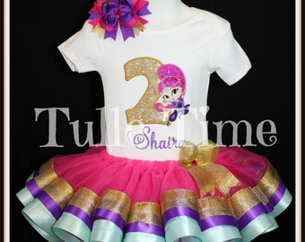 1st 2nd 3rd 4th Number Shimmer and shine birthday Hot pink ribbon tutu dress size 12m 18m 2t 3t 4t 5t 6 7/8