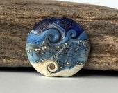Handmade Lampwork Focal Bead, Blue & Ivory Glass Lentil