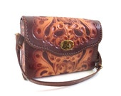 Vintage Floral Tooled Leather Bag by Clifton's