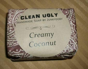 CLEAN UGLY Handmade Soap Coconut Cream or Coconut Oatmeal Handcrafted Bar Soap