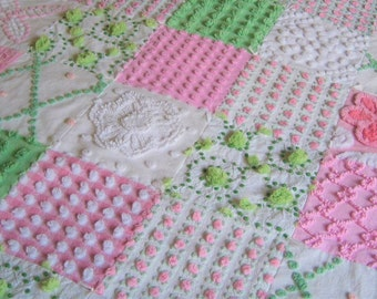 FREE Shipping Fluffy Bright PINK and GREEN Vintage Chenille Bedspread Baby Quilt - Ready to ship.