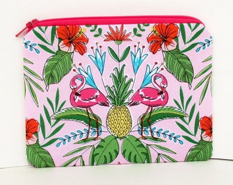 Flamingo Zippered Pouch, Midnight at the Oasis, Small Pink Tropical Bag
