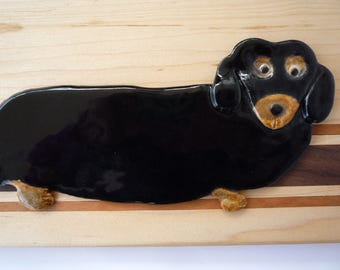 Black and Brown Dachshund Spoon Rest Wiener  Dog  Decoration Doxie Tray