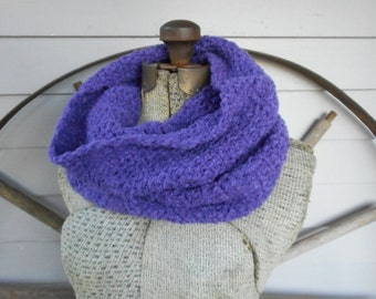 Of Purple Skies Handmade Crochet Hooded Scarf Snood Neck Cowl Thick Chunky Neck Wrap. Lavender Soft Boucle Yarn  Crocheted womens accessory