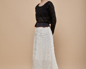 Ivory white skirt- folds midi skirt- Stripes black waist- orange waist lining