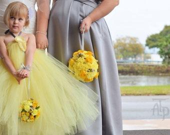 Grey Yellow Flower Girl Dress, Little Girls, Toddler Girls, Baby Girls, Flowergirl Dress