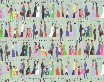 """People, 1 Yard 21"""", Quilt Fabric, Shopping Saturday Morning, by Basic Gray, for Moda, Item 30443 19, Retro, Saturday Shoppers, Shop Retro"""