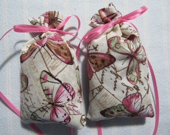 "Ecru 4""X2"" Sachet-'Butterfly Flower' Fragrance-Mauve Butterfly Sachet-Cotton Botanical/Herbal Sachet-Cindy's Loft-463"