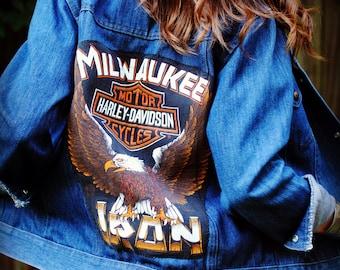 Vintage Levis Jacket With Harley Davidson Patch- Size Medium