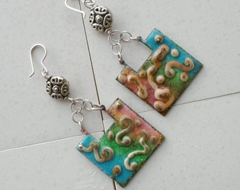Enameled Brass earrings, Handmade Jewelry,Chain Earrings,Sterling Silver Earrings, OOAK ,Bohemian Colorful Valentine's Day Jewelry Gift