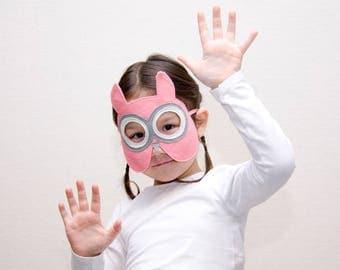 Children's Pink Owl Mask, Felt Bird Kids Mask, Halloween, Carnival, Dress up Costume Accessory, Pretend Play Gift  for Girls Boys, Toddlers