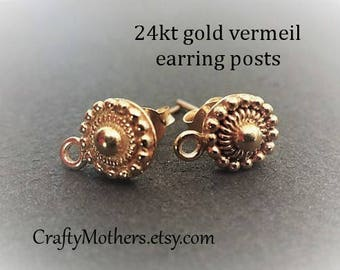 Take 15% off with 15OFF20, Bali 24kt Gold Vermeil Granulated Earring Posts, 8mm x 11.5mm, 1 pair (2 pcs), Artisan-made supply