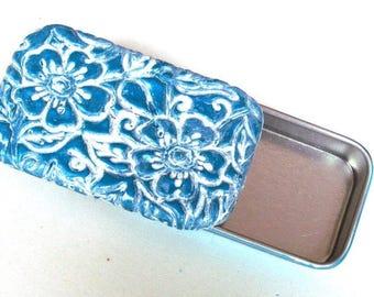 Metal Pill Box Mediterranean Blue Wildflowers Metal slide top tin Purse accessory Handmade Gift Vitamin Holder FREE Velvet Gift Pouch