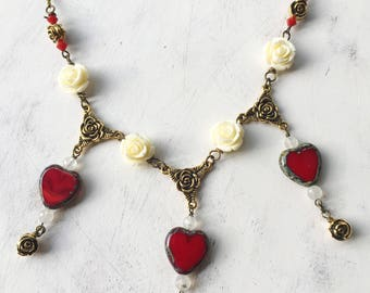 Deepika Cream Rose Red Heart Fairytale Necklace by MinouBazaar