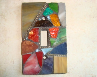 MOSAIC Light Switch Plate -  Single Switch, Wall Art, Wall Plate, Stained Glass Chips, Multicolored