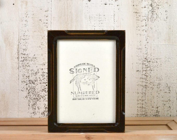 5x7 Picture Frame in Deep Bones Style with Vintage Dark Wood Tone Finish - IN STOCK - Same Day Shipping - 5 x 7 Frame Rustic Brown