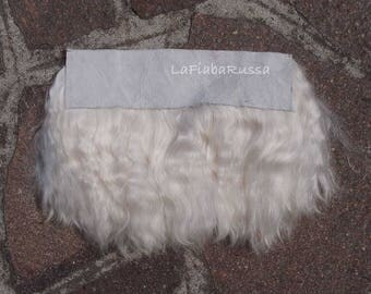 Angora mohair locks 17 cm long Fur Leather Skin doll hair angora cream white goat, silky, lustry hair for sewing wig OOAK, reroot reborn.